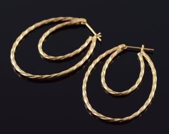 14k Dual Hollow Twist Hoop Earrings Gold