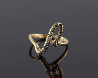 14k 0.10 CTW Diamond Free Form Swirl Ring Gold