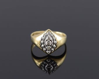 Diamond Inset Two Tone Marquise Starburst Ring Size 7.5 Gold