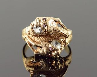 10k Stunning Ruby Eye Dragon Head Wrap Around Band Ring Gold