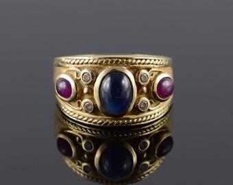 14k 1.60 CTW Sapphire Ruby Diamond Ring Gold