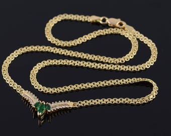 14k 0.79 Ctw Emerald Diamond Chevron Necklace Gold 16.75""