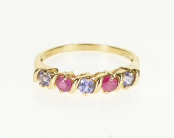 14k Ruby Tanzanite Wavy Five Stone Band Ring Gold