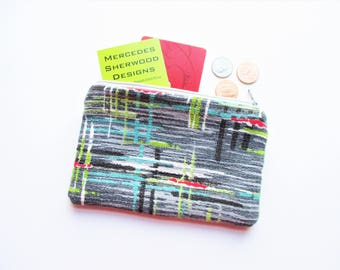 Crosshatch Chartreuse Red Turquoise Black & White on Gray Ground Vintage Barkcloth Fabric Coin Purse Business Loyalty Card Holder Zipper Bag