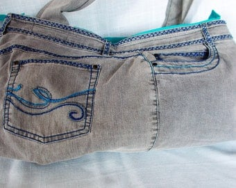 Large Grey Denium Handbag made from upcylced grey jeans with blue embroidery