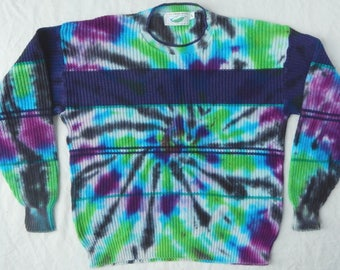 Black / Green / Blue Tie Dye Crewneck Pullover Sweater - Large Mens Cotton