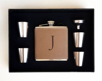 Personalized Leatherette Flask Set - Groomsmen Gift - Boxed Flask Set - Monogram Flask Set - Best Man Gift - Wedding Gift - Bachelor Gift