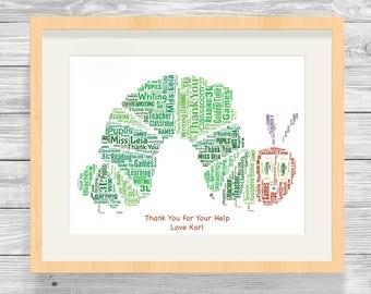 Personalised Caterpillar Word Art Print Graduation Bespoke Typography End of Term, Leaving, Teacher Gift