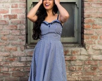 "Navy gingham ""vintage-replicated"" circle dress"