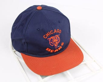 90s CHICAGO BEARS Football Spell Out Cotton Snapback Hat, Vintage Chicago Bears Hat, 90s Chicago Bears Hat, Vintage NFL Football Hat Blue