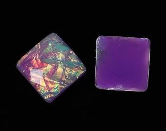 6 purple square cabochons 18 mm