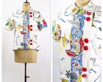 1950's Novelty Print Blouse