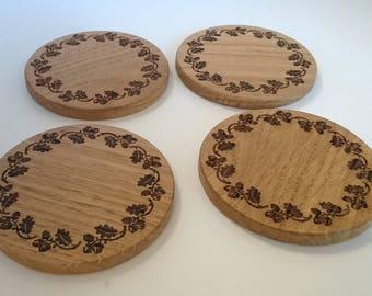 Solid oak coasters - acorn border design