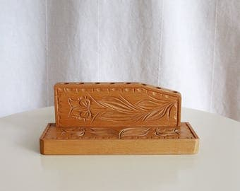 Vintage Wooden Pencil Holder