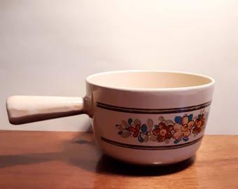 Cast iron Nomar sauce pan, le Creuset style, French vintage pan, floral decoration on pan