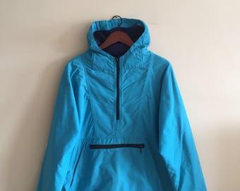 Vintage L.L. Bean Freeport Maine Jacket Fleece. Turquoise. Made in U.S.A  LL Bean Windbreaker. Ski Jacket. Hiking Jacket. Anorak Jacket
