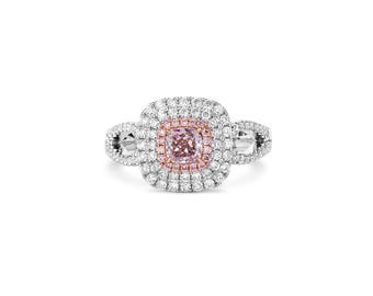 Pink Diamond Ring, Diamond Engagement Ring, 18K white and rose gold, Radiant cut Engagement  Ring, Halo Ring, Pave Ring, Fancy Pink Diamond.