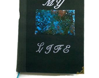 My Life Journal, Distressed Metal Journal -built in Bookmark-Lined pages,Diary/Notebook, gift for writers, Steampunk, art, blue, key, black