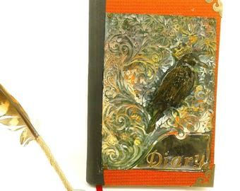 Red Raven Metal Journal, Distressed Metal Journal -built in Bookmark-Lined pages,Diary/Notebook, gift for writers, writing journal, crow