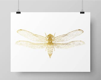 Hand Printed Gold Foil Dragonfly Screen Print - Butterfly / Insect Design