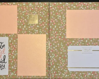 Hello Beautiful Gold and pastel polka dot ScrapBook (2 pages)