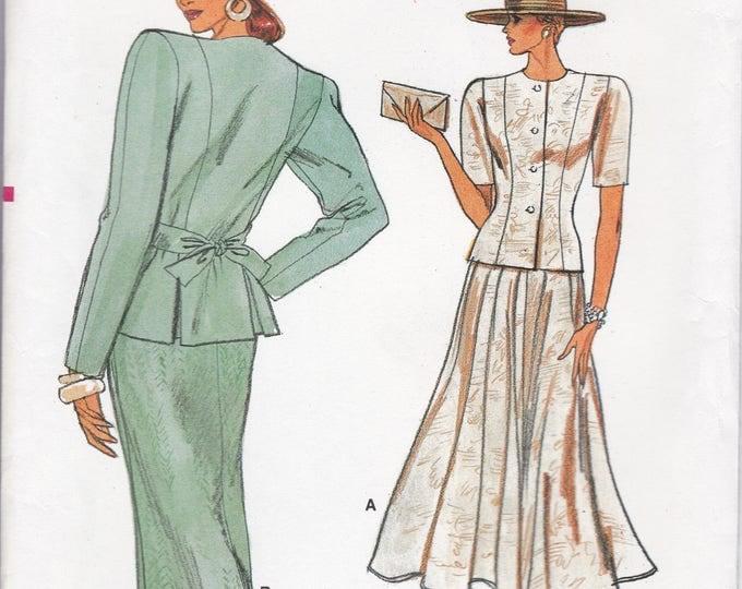FREE US SHIP Vogue 9931 Sewing Pattern Vintage Retro 1980s 80s Blouse Skirt Bow back Size 14 16 18 Bust 36 38 40 Uncut Wide Shoulder Pad