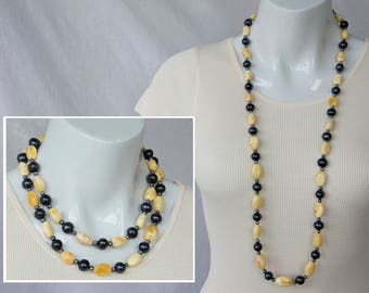 White butterscotch amber & black pearl necklace - Long strand - GemChristina AMB11051 - single or double strand
