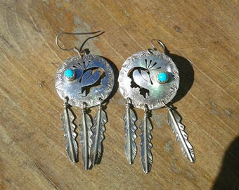 Navajo sterling silver Kokopelli earrings with turquoise