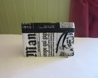 """small mobile phone pouch/Wallet/case is lined and quilted black and white """"journal"""""""