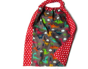 towel canteen elasticated napkin child, maternal, canteen, school, home, dots, red, multicolored dinosaurs