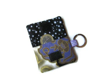 Pouch, case cover for shopping cart token, Japanese fabric, white purple gold black bag charm Keyring