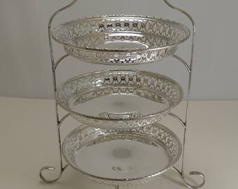 Stunning Antique English Cake Stand In Silver Plate c.1900