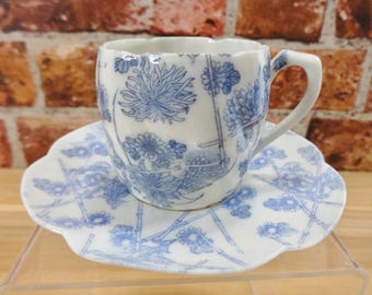 Old Vintage Porcelain Blue and White Espresso / small tea Cup & Saucer Bamboo