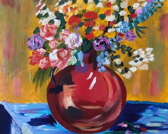 """Abstract Flowers & Vase In Acrylic """"12X12"""" Gallery Wrapped Canvas 