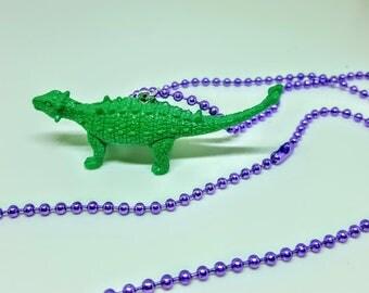 Dinosaur Necklace Purple Ball Chain Green Dinosaur  Necklace Gift Under 5