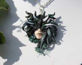 Beautiful Polymer Clay Mystical Faerie Forest Spirit Priestess Inspired Fae Portait Pendant - Dark Shaman -