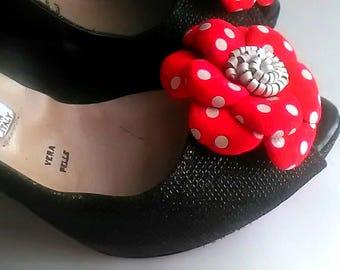Leather Shoe Clip,Red&white clip, Flower shoe clip, Set of 2, Shoe clips, Flower Shoe Clips, Leather clips, Italian handmade.