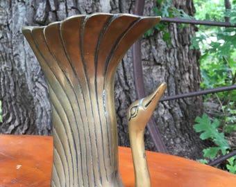 Gorgeous Vintage Brass Swan Vase-Brass Swan-Brass Swan Match Holder-Brass Swan Bookend-Vintage Brass Swan-Brass Home Decor-Wedding Gift