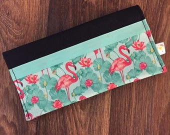 Protects health record Flamingo Pink/Mint/green personalized with name