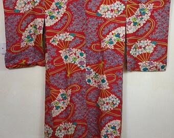 Floral Traditional Japanese Wool Kimono