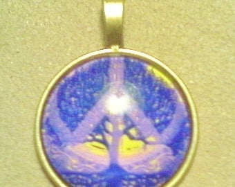 """Tree of Life pendant; beautiful Tree of Life and peace sign, glass cabochon pendant, antiqued brass, 1 1/2"""", 1pc/6.00."""