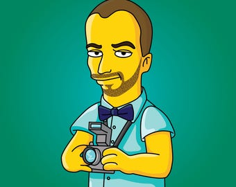 Photographer Gift  - Custom Portrait from your Photo as Yellow Cartoon Character