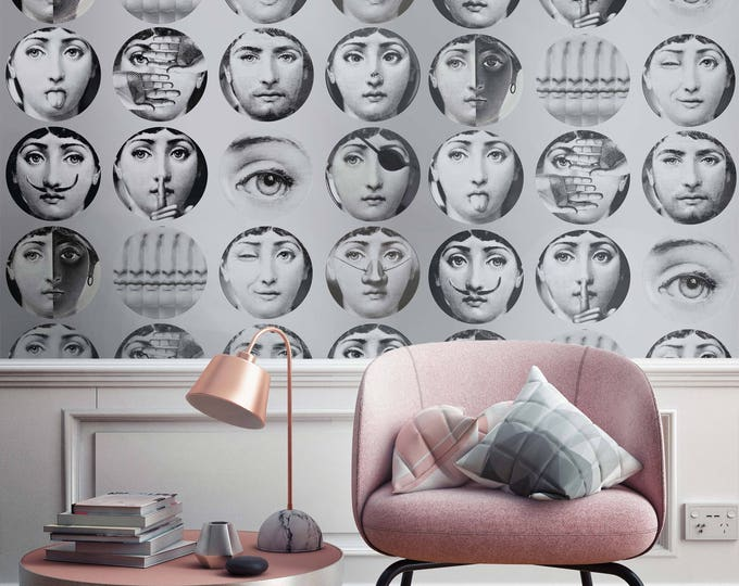 Faces Wallpaper - Wallpaper Dishes  - Fornasetti Wallpapers
