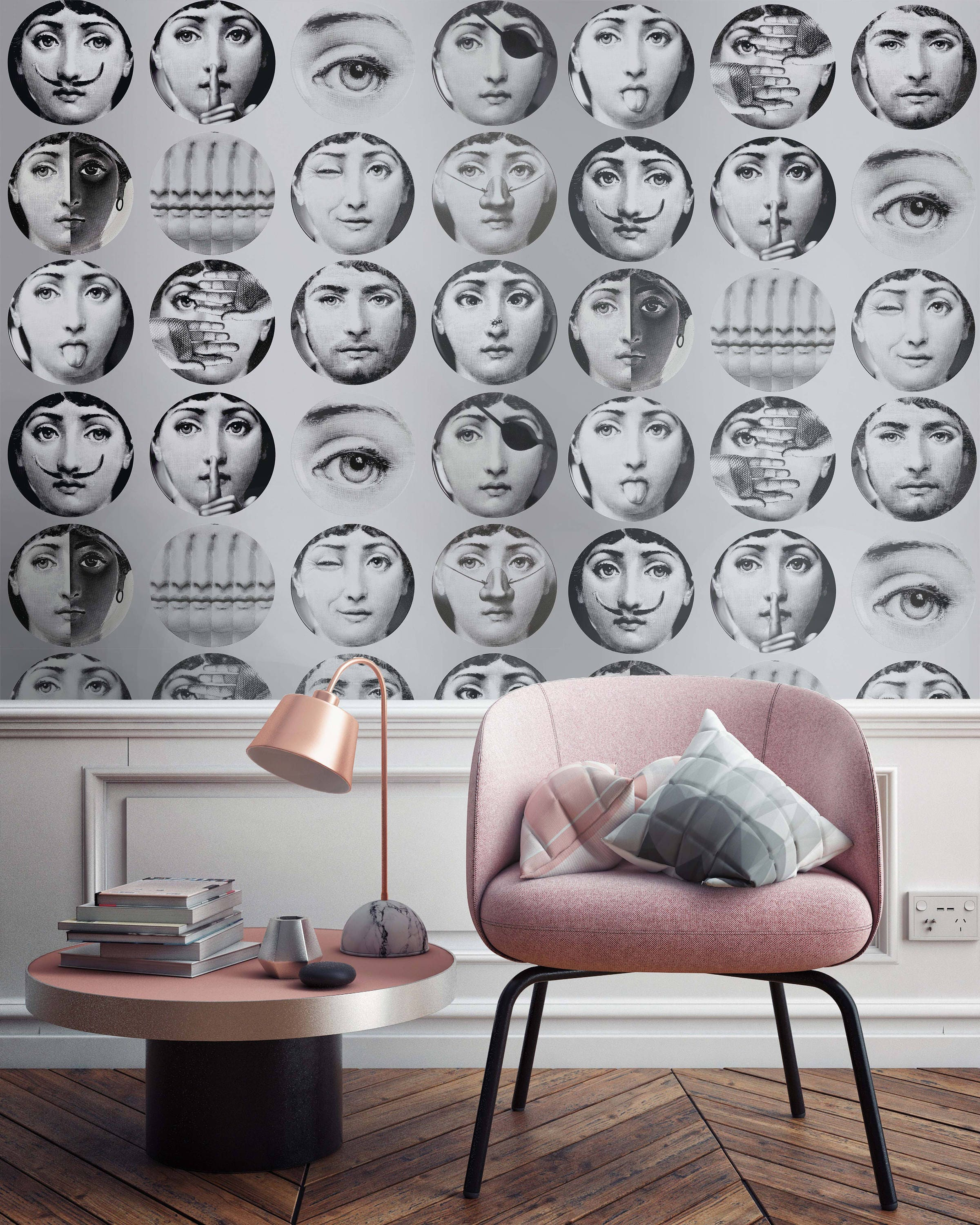 Faces wallpaper wallpaper dishes fornasetti wallpapers - Fornasetti faces wallpaper ...