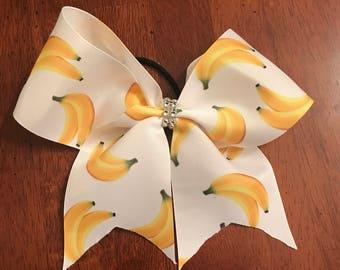 Banana cheer hairbow on ponytail holder