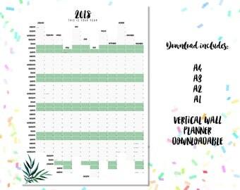 2018 Wall Planner Downloadable. Botanics Design A4 A3 A2 + A1