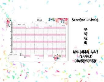 2018 Wall Planner Downloadable. Summer Blooms Design A4 A3 A2 + A1 Horizontal / Landscape