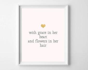 printable pink and gold modern nursery art print printable nursery art inspirational quote - Room Decor For Girls