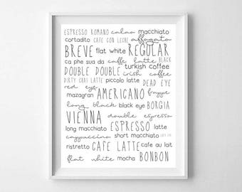 Coffee Types Print, Printable Art, Types of Coffee Sign, Coffee Sign, Coffee Print, Coffee Printable, Coffee Wall Art, Kitchen Printables