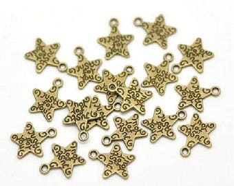 10 charms antique bronze star 14 x 12 mm